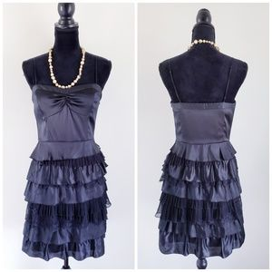 Armani Exchange Black Tiered 100% Silk Dress Sz 8